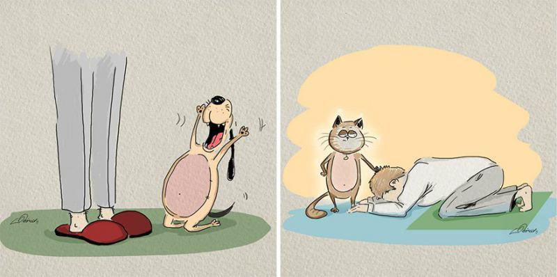 Разликата между котки и кучета в няколко забавни илюстрации