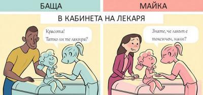Отнася ли се различно обществото към бащи и майки? 4 забавни комикса отговарят…