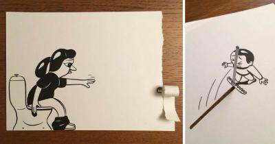 Илюстратор използва хитри трикове, за да създаде 3D комикси