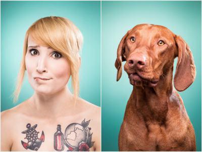 Удивителни двойници: хора и кучета позират с еднакви лица/муцуни