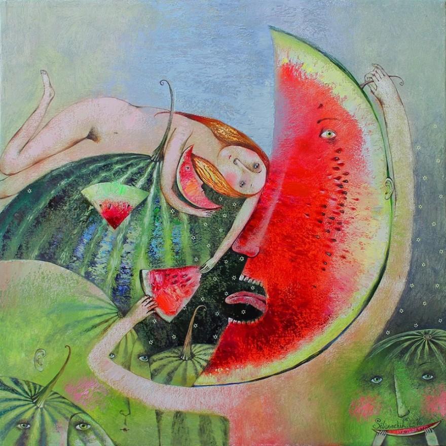 Между Шагал, примитивистите на 20 в. и беларуския фолклор: чудните светове на Анна Силивончик