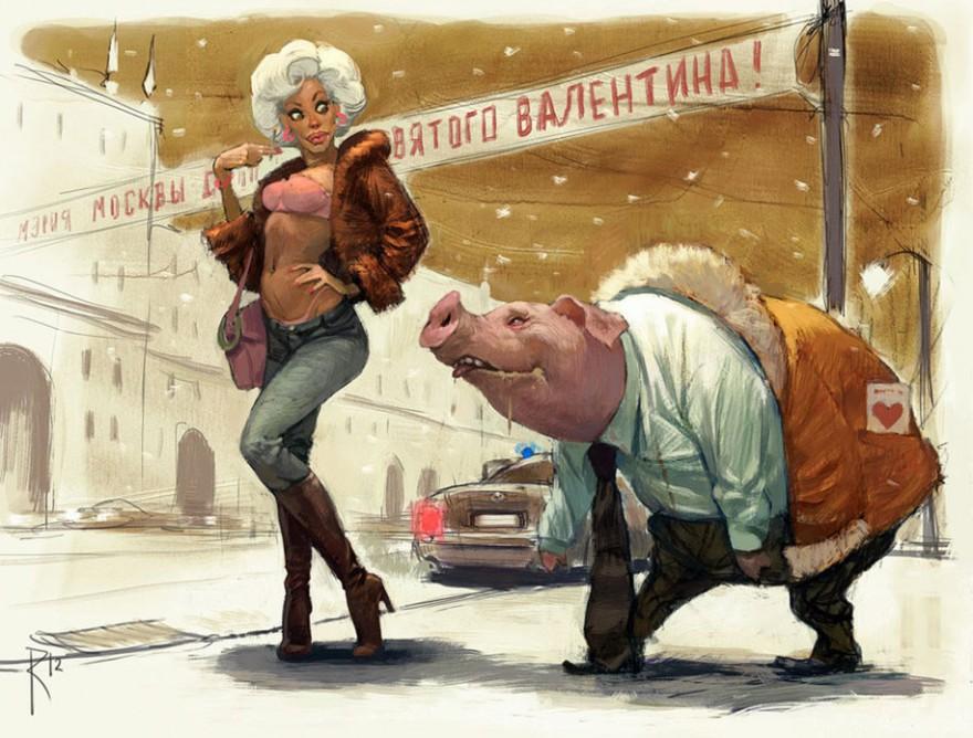 карикатури на руския илюстратор Валдемар фон Козак