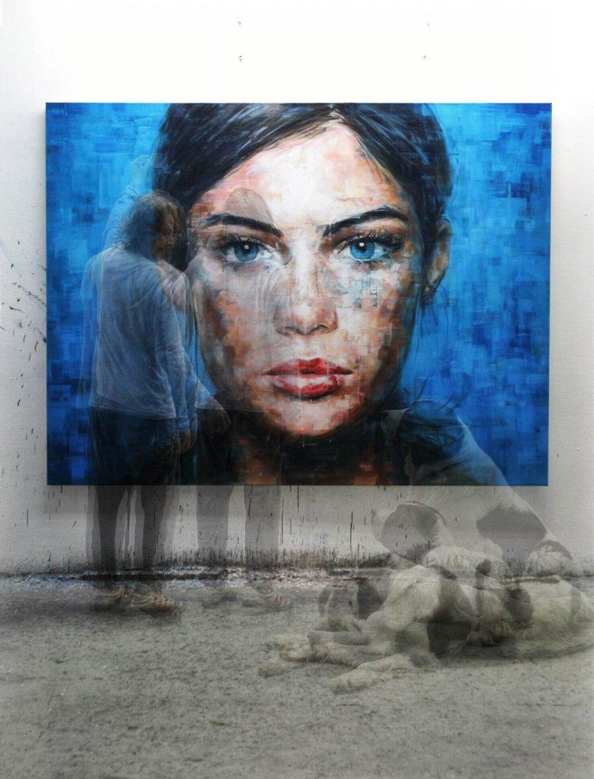 Загадъчните погледи в огромните, реалистични платна на Harding Meyer