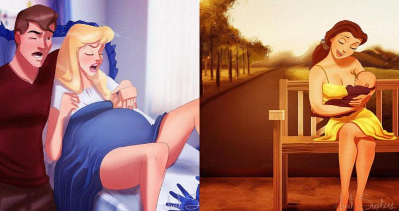 Принцесите на Дисни като майки (илюстрации)