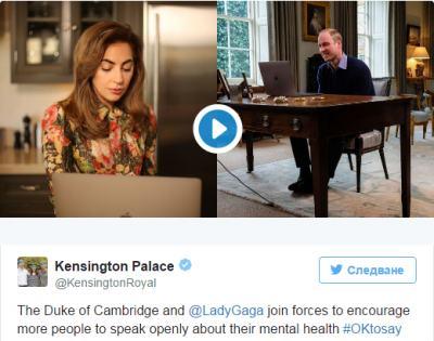 Принц Уилям и Лейди Гага проведоха видео разговор за психичното здраве