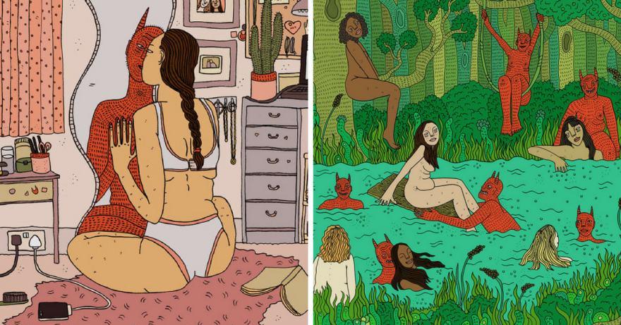 гротескните илюстрации на Polly Nor