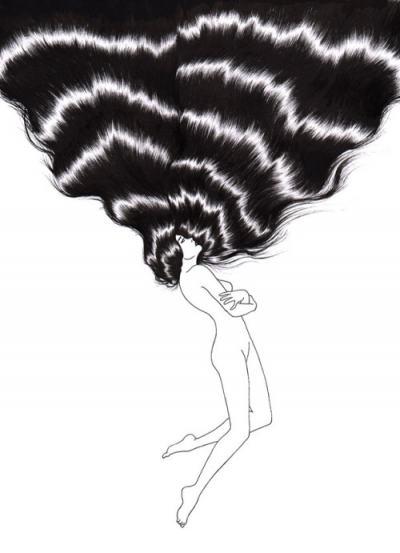 Минимализъм и… плътна коса – в меланхоличните илюстрации на Sivan Karim