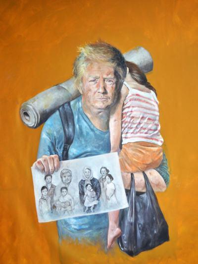 Серия на уязвимостта: сирийски художник си представя световните лидери като бежанци (в огромни платна)