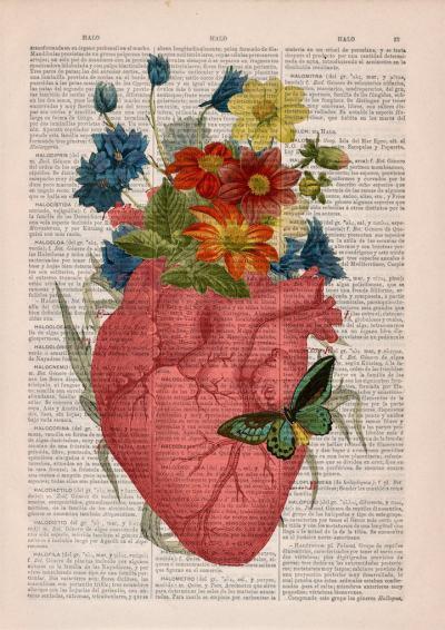 Красиви анатомично-флорални колажи върху страниците на изхвърлени книги (снимки)