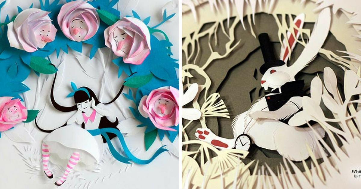 Хартиените приключения на Алиса в страната на чудесата (3D илюстрации)