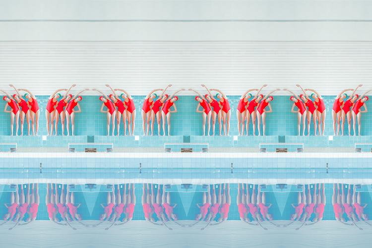 плуването в портретите на словашки фотограф