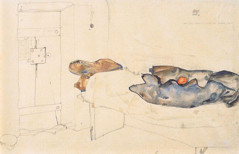Една от рисунките на Егон Шиле, създадена в затвора