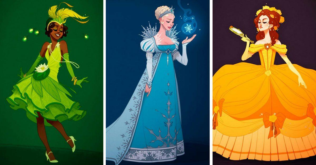 ако принцесите на Дисни носеха исторически по-правдиви рокли (илюстрации)