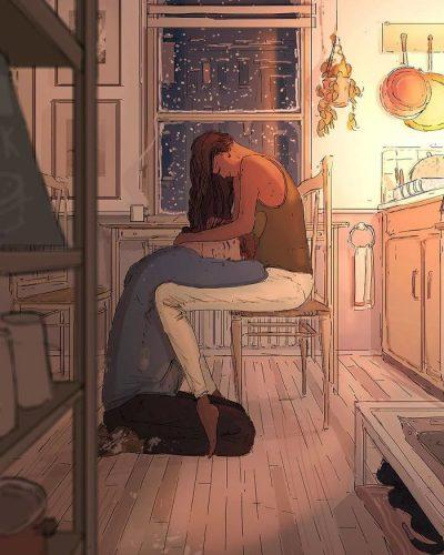 Френски илюстратор рисува любовта към жена си и трите им деца всеки ден (илюстрации)