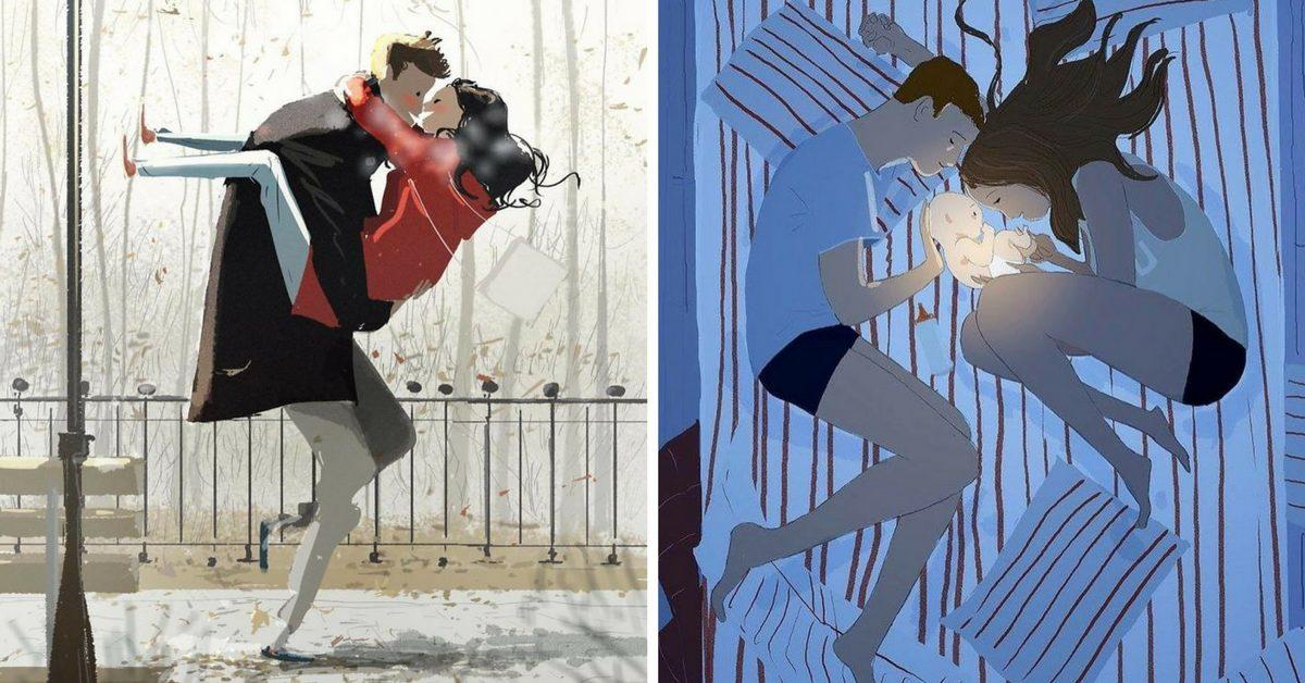 Френски рисува любовта към жена си и трите им деца всеки ден (илюстрации)