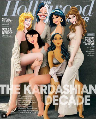 """Принцесите на Дисни """"изместват"""" сестрите Кардашиян, Дженифър Лорънс и др. знаменитости от емблематични корици (колажи)"""