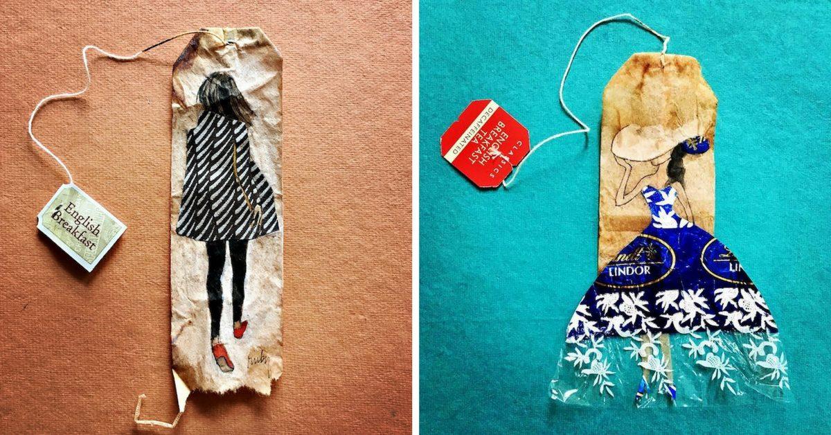 миниатюрни картини, нарисувани върху използвани пакетчета чай