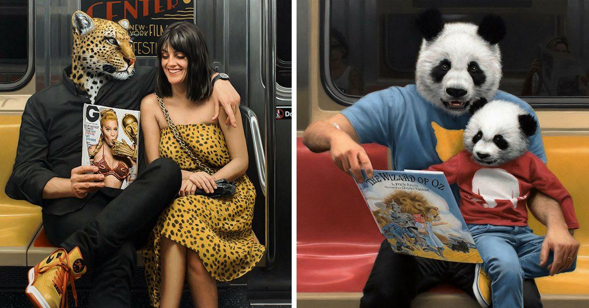 диадата човек-звяр - в хиперреалистичните картини на Matthew Grabelsky