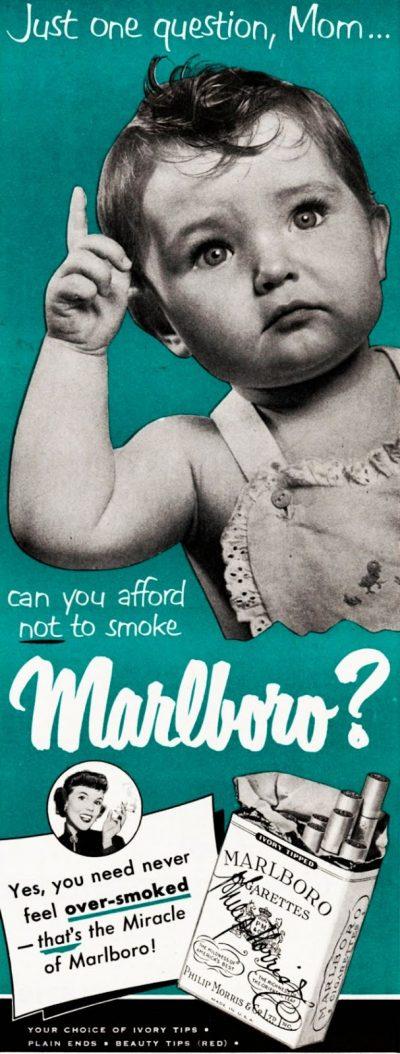 Когато бебетата са рекламирали… цигари (винтидж плакати)
