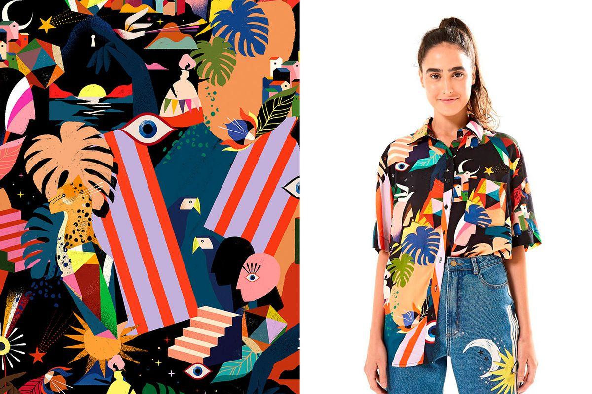 Духовната сила на бразилската природа и жена - в илюстрации и текстил от Willian Santiago