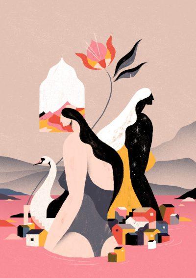 Духовната сила на бразилската природа и жена – в илюстрации и текстил от Willian Santiago