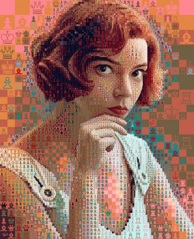 """Серия мозаечни портрети на Бет Хармън, вдъхновени от The Queens' Gambit, размишлява красиво над """"живота като странна партия шах"""""""