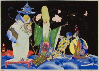 Еротика и сатира: илюстрациите в стил ар деко на Умберто Брунелески (или Харун-ал-Рашид)